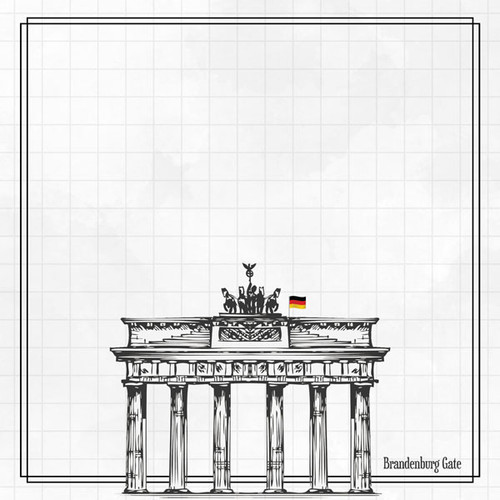Travel Adventure Collection Germany Bradenburg Gate 12 x 12 Double-Sided Scrapbook Paper by Scrapbook Customs