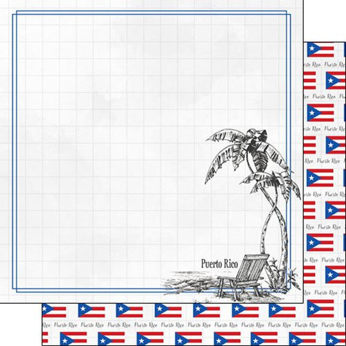 Travel Adventure Collection Puerto Rico Beach 12 x 12 Double-Sided Scrapbook Paper by Scrapbook Customs