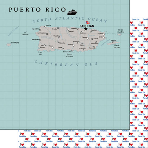 Travel Adventure Collection Puerto Rico Map 12 x 12 Double-Sided Scrapbook Paper by Scrapbook Customs