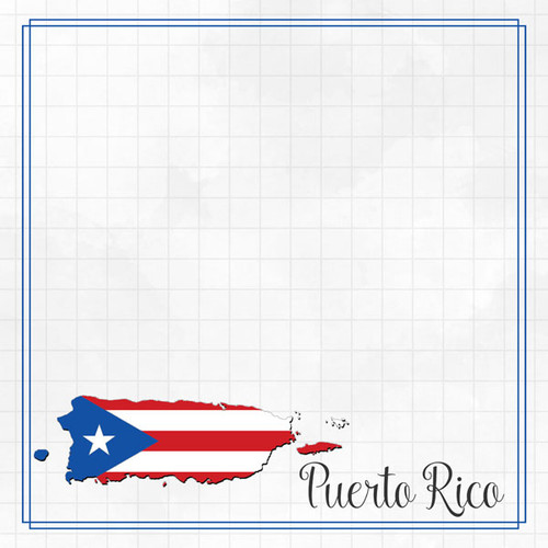 Travel Adventure Collection Puerto Rico Border 12 x 12 Double-Sided Scrapbook Paper by Scrapbook Customs