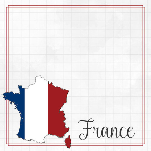 Travel Adventure Collection France Border 12 x 12 Double-Sided Scrapbook Paper by Scrapbook Customs