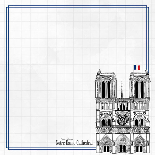 Travel Adventure Collection Notre Dame Cathedral 12 x 12 Double-Sided Scrapbook Paper by Scrapbook Customs