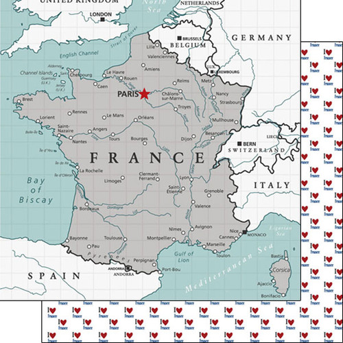Travel Adventure Collection France Map 12 x 12 Double-Sided Scrapbook Paper by Scrapbook Customs