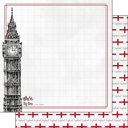 Travel Adventure Collection Big Ben 12 x 12 Double-Sided Scrapbook Paper by Scrapbook Customs