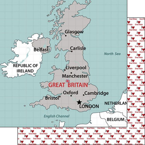 Travel Adventure Collection Great Britain Map 12 x 12 Double-Sided Scrapbook Paper by Scrapbook Customs