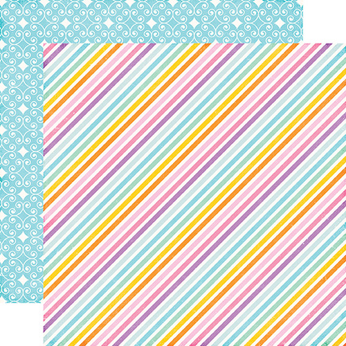 Perfect Princess Collection Stardust Stripe 12 x 12 Double-Sided Scrapbook Paper by Echo Park Paper