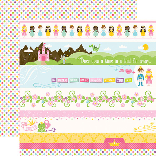 Perfect Princess Collection Border Strips 12 x 12 Double-Sided Scrapbook Paper by Echo Park Paper