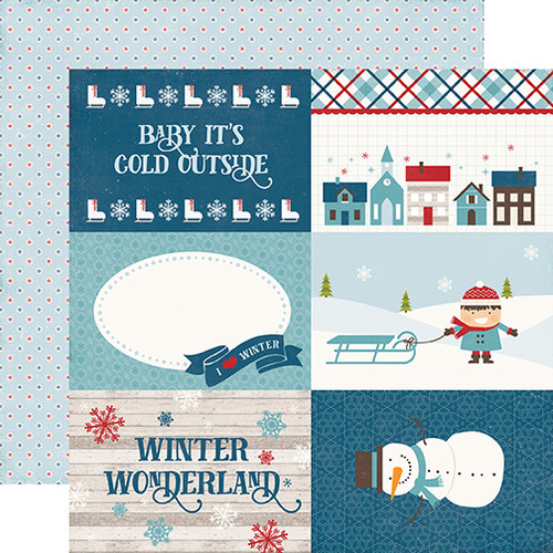 I Love Winter Collection 4 x 6 Journaling Cards 12 x 12 Double-Sided Scrapbook Paper by Echo Park Paper