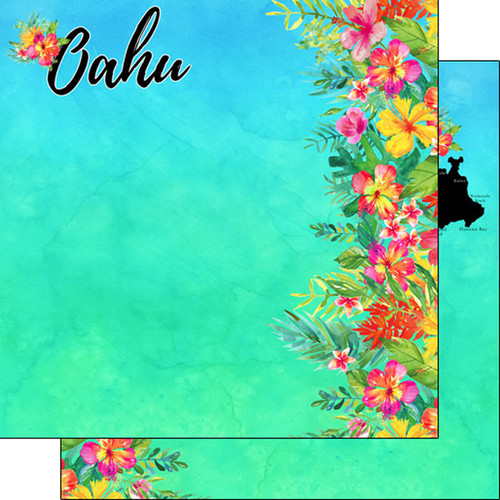 Getaway Collection Oahu, Hawaii 12 x 12 Double-Sided Scrapbook Paper by Scrapbook Customs