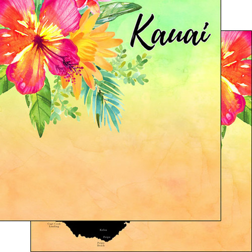 Getaway Collection Kauai, Hawaii 12 x 12 Double-Sided Scrapbook Paper by Scrapbook Customs