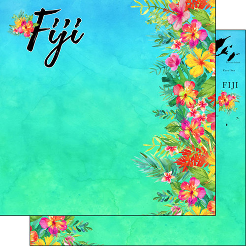 Getaway Collection Fiji 12 x 12 Double-Sided Scrapbook Paper by Scrapbook Customs