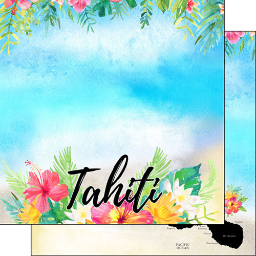 Getaway Collection Tahiti 12 x 12 Double-Sided Scrapbook Paper by Scrapbook Customs
