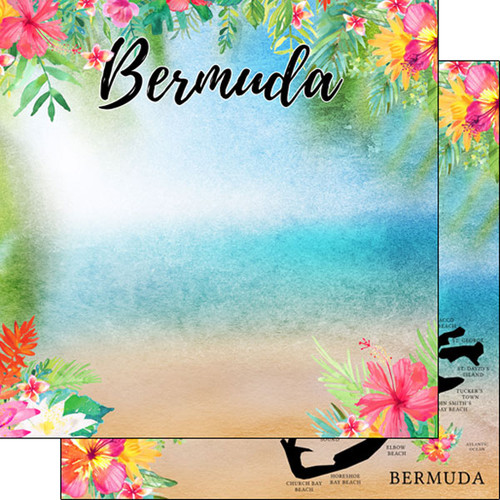 Getaway Collection Bermuda 12 x 12 Double-Sided Scrapbook Paper by Scrapbook Customs