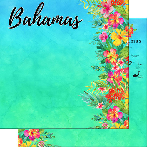 Getaway Collection Bahamas 12 x 12 Double-Sided Scrapbook Paper by Scrapbook Customs