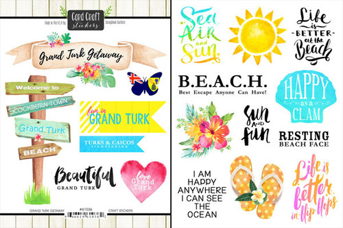 Getaway Collection Grand Turk 6 x 8 Double-Sided Scrapbook Sticker Sheet by Scrapbook Customs