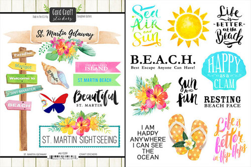 Getaway Collection St. Martin 6 x 8 Double-Sided Scrapbook Sticker Sheet by Scrapbook Customs