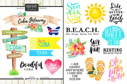 Getaway Collection Cuba 6 x 8 Double-Sided Scrapbook Sticker Sheet by Scrapbook Customs