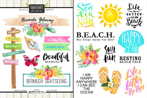 Getaway Collection Bermuda 6 x 8 Double-Sided Scrapbook Sticker Sheet by Scrapbook Customs