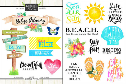 Getaway Collection Belize 6 x 8 Double-Sided Scrapbook Sticker Sheet by Scrapbook Customs