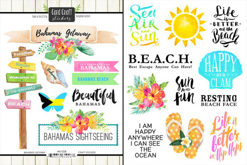 Getaway Collection Bahamas 6 x 8 Double-Sided Scrapbook Sticker Sheet by Scrapbook Customs