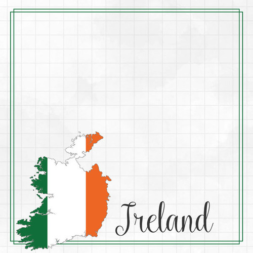 Travel Adventure Collection Ireland Border 12 x 12 Double-Sided Scrapbook Paper by Scrapbook Customs