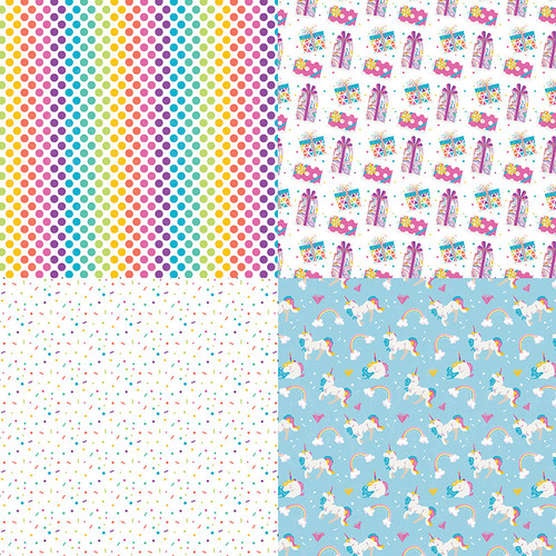 Cake Collection Rainbow Sprinkles Celebrate Quad 12 x 12 Double-Sided Scrapbook Paper by Photo Play Paper