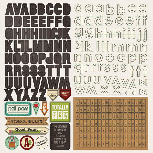 Real Genius Collection 12 x 12 Alpha Scrapbook Sticker Sheet by Photo Play Paper