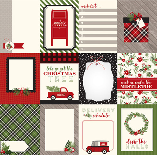 Christmas Delivery Collection 3 x 4 Journaling Cards 12 x 12 Double-Sided Scrapbook Paper by Carta Bella