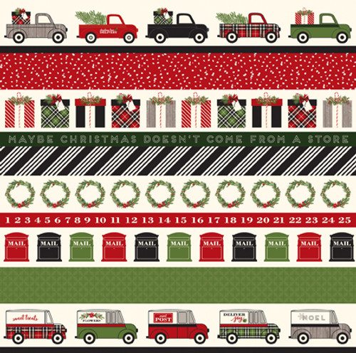 Christmas Delivery Collection Border Strips 12 x 12 Double-Sided Scrapbook Paper by Carta Bella