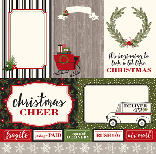 Christmas Delivery Collection 4 x 6 Journaling Cards 12 x 12 Double-Sided Scrapbook Paper by Carta Bella