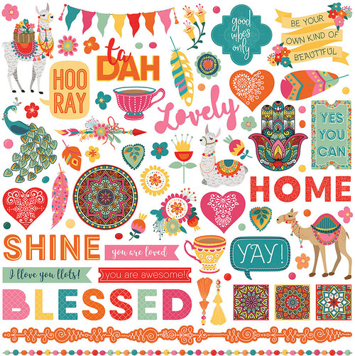 Paprika Collection 12 x 12 Element Scrapbook Sticker Sheet by Photoplay Paper