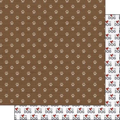 Puppy Love Collection I Love My Dog 12 x 12 Double-Sided Scrapbook Paper by Scrapbook Customs