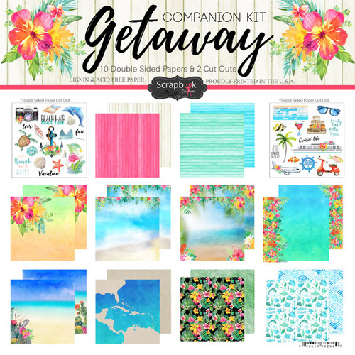 Getaway Collection Scrapbook Companion Kit - 10 Double-Sided 12 x 12 Scrapbook Papers & 2 Cut Out Scrapbook Sheets by Scrapbook Customs