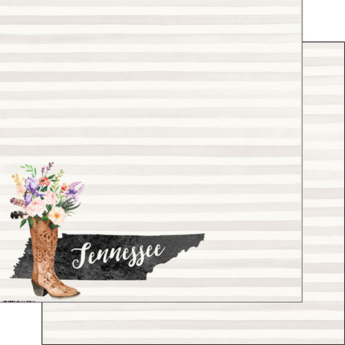 Watercolor Collection Tennessee 12 x 12 Double-Sided Scrapbook Paper by Scrapbook Customs