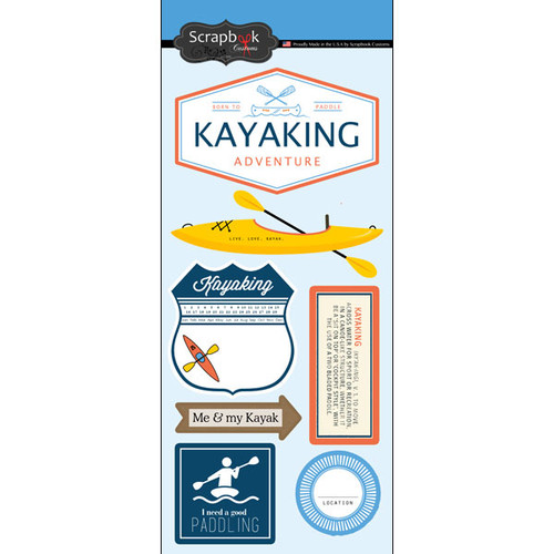 Kayaking Adventure Collection Kayaking 6 x 12 Scrapbook Sticker Sheet by Scrapbook Customs