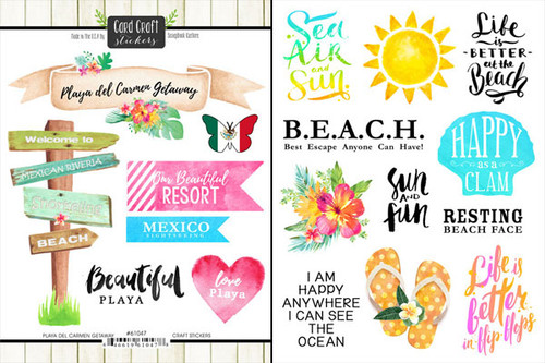 Getaway Collection Playa Del Carmen Mexico 6 x 8 Double-Sided Scrapbook Sticker Sheet by Scrapbook Customs