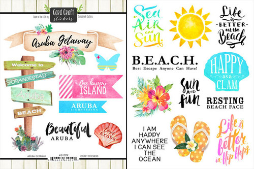 Getaway Collection Aruba 6 x 8 Double-Sided Scrapbook Sticker Sheet by Scrapbook Customs