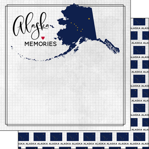 Travel Adventure Collection Alaska Flag 12 x 12 Double-Sided Scrapbook Paper by Scrapbook Customs