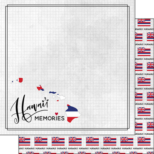Travel Adventure Collection Hawaii Flag 12 x 12 Double-Sided Scrapbook Paper by Scrapbook Customs