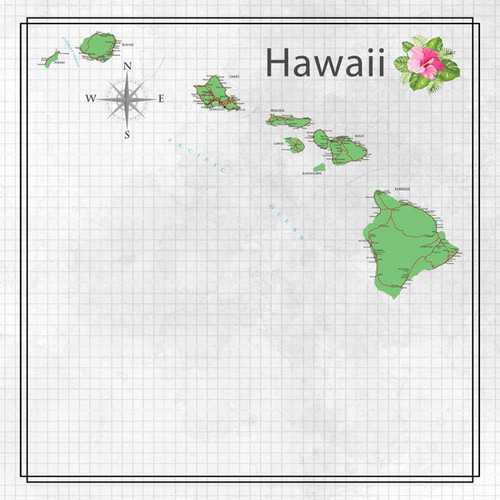 Travel Adventure Collection Hawaii Map 12 x 12 Double-Sided Scrapbook Paper by Scrapbook Customs