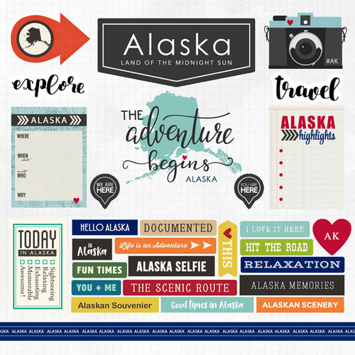 Travel Adventure Collection Alaska 12 x 12 Scrapbook Sticker Sheet by Scrapbook Customs