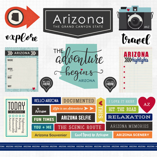 Travel Adventure Collection Arizona 12 x 12 Scrapbook Sticker Sheet by Scrapbook Customs
