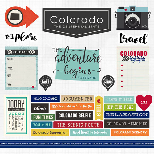 Travel Adventure Collection Colorado 12 x 12 Scrapbook Sticker Sheet by Scrapbook Customs