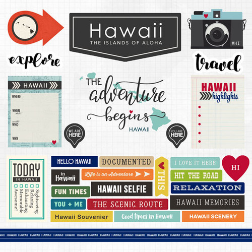 Travel Adventure Collection Hawaii 12 x 12 Scrapbook Sticker Sheet by Scrapbook Customs