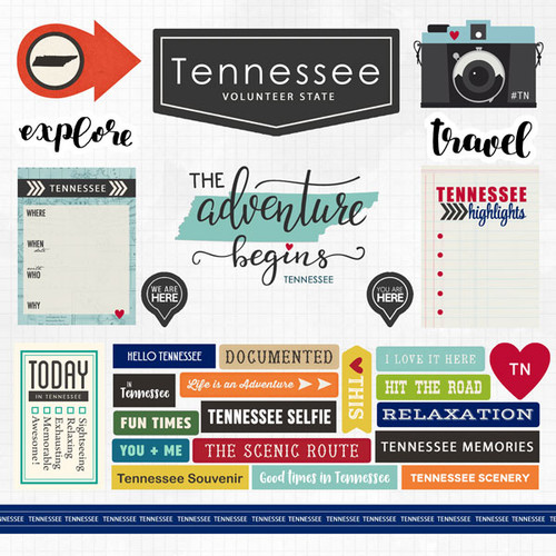 Travel Adventure Collection Tennessee 12 x 12 Scrapbook Sticker Sheet by Scrapbook Customs