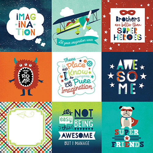 Imagine That Boy Collection 4 x 4 Journaling Cards 12 x 12 Double-Sided Scrapbook Paper by Echo Park Paper