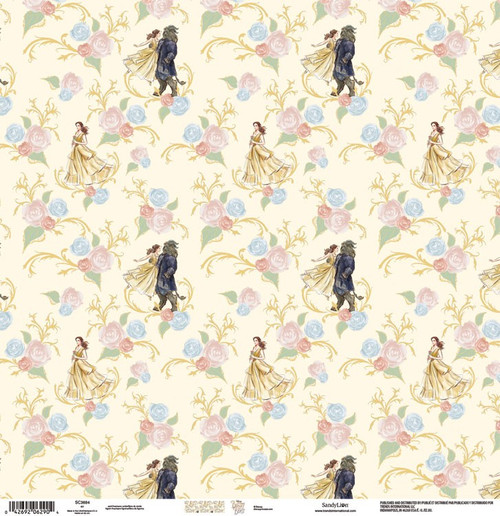 Disney Beauty & The Beast Collection Broadway Belle & Beast 12 x 12 Scrapbook Paper by Sandylion