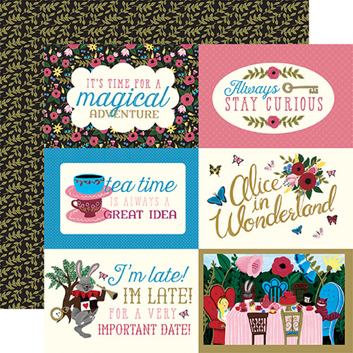 Alice In Wonderland Collection 4 x 6 Journaling Cards 12 x 12 Double-Sided Scrapbook Paper by Echo Park Paper