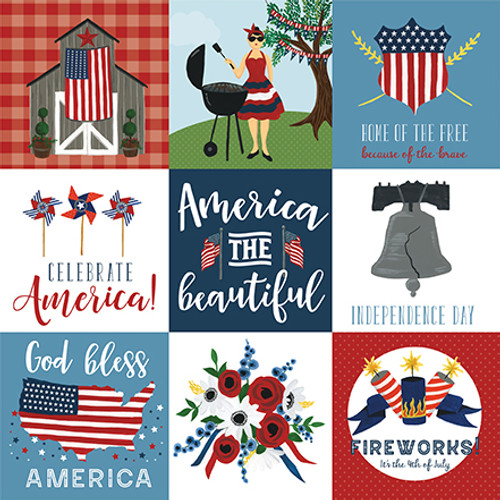 Celebrate America Collection 4 x 4 Journaling Cards 12 x 12 Double-Sided Scrapbook Paper by Echo Park Paper