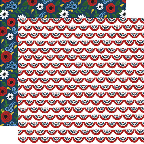 Celebrate America Collection Patriotic Banners 12 x 12 Double-Sided Scrapbook Paper by Echo Park Paper